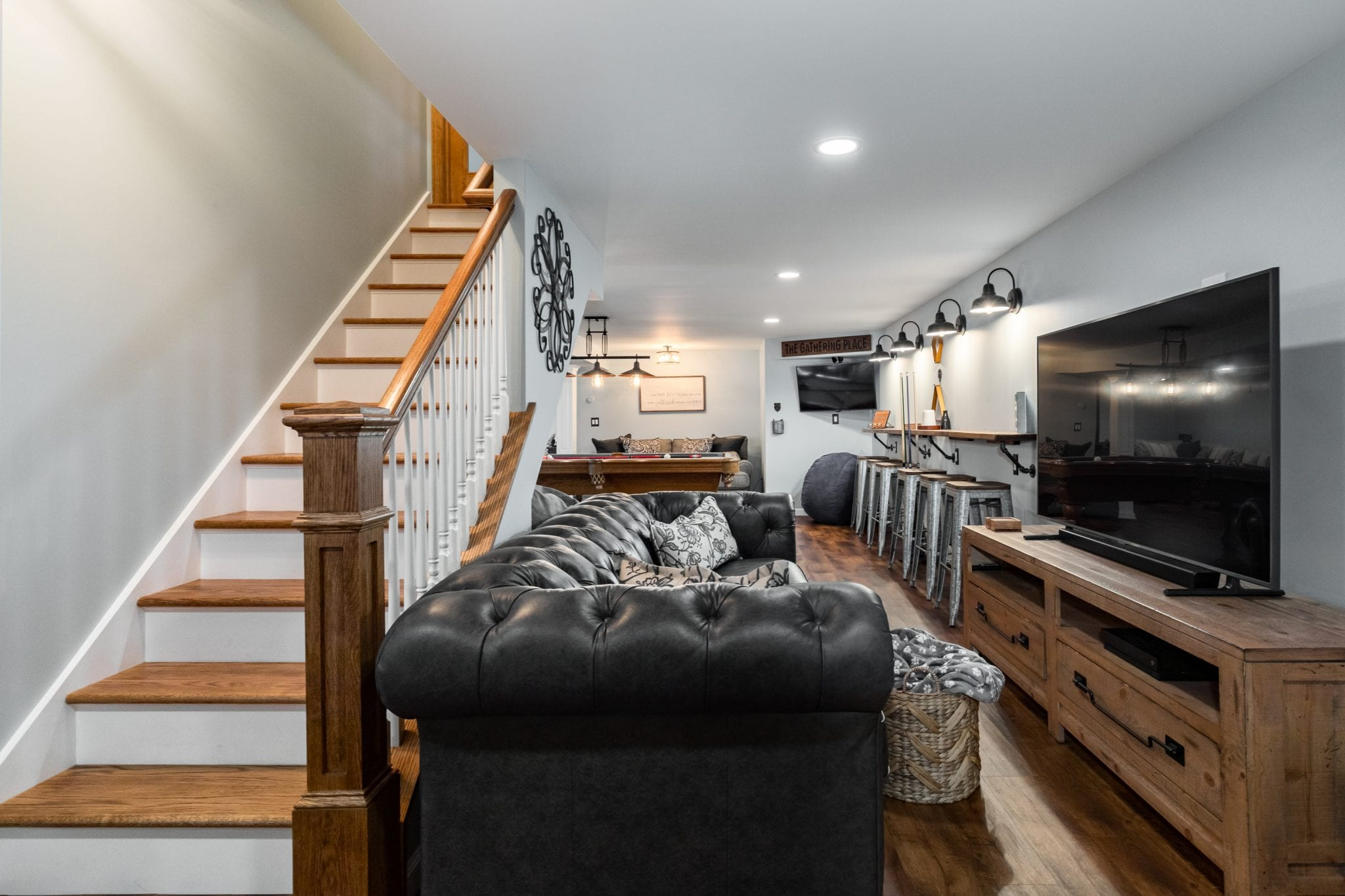 renovated basement with entertaining area