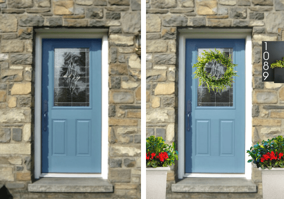 Before and after picture of a blue front door