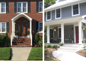 Two Images: One Brick Portico and One Front Porch with Red Door