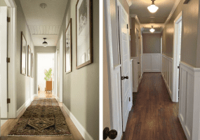 Two Hallways: left, displays floor runner, right, bare walls, wood floor