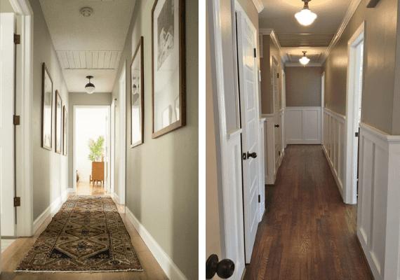 Two Hallways: left, displays floor runner, right, bare walls, wood floor