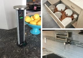 Grid Picture with outlet, pot filler, peg drawer